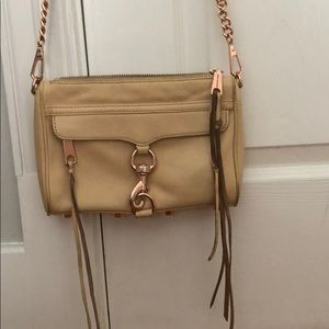 Rebecca Minkoff mini MAC tan bag w/ gold hardware